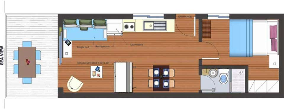 Holiday One Bedroom Apartments floor plan
