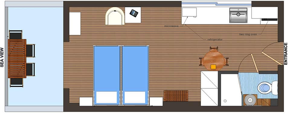 Floorplan of Studio apartment in Meli apartments in Kiveri village close to Nafplion