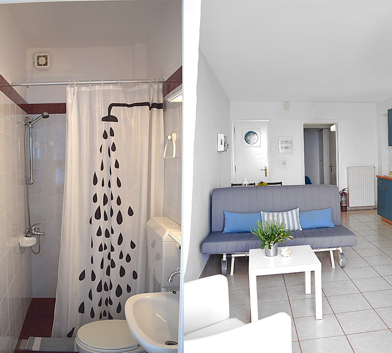 Bathroom and livingroom in holiday one bedroom apartment